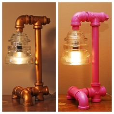Copper Colored Industrial Style Pipe Lamp