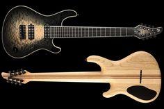 """Mayones Regius 8 QM Custom Baritone Transparent Natural Fade Black Burst Gloss finish with Bare Knuckle Aftermath pickups and Hipshot 8 String Fixed .175 Guitar Bridge"""