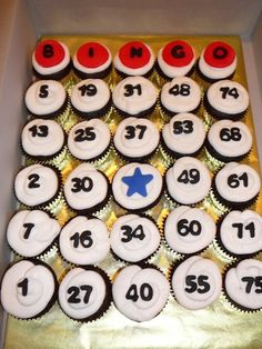 Bingo cupcakes - so simple Could also buy cupcakes and number stakes. Bingo Cake, Bingo Party, 75th Birthday, Mom Birthday, Birthday Parties, Theme Parties, Bingo Night, Game Night Parties, Family Fun Night