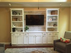 Custom Built Entertainment Center with Quartz Countertop and Stikwood Pallet Wall