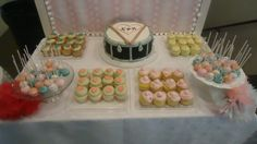 Wedding Sweets Table, Cupcakes, Cake Pops, Drum Cake