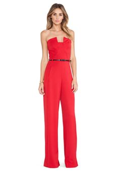 Black Halo Lena Jumpsuit in Red | REVOLVE - so obsessed with this for a dressy occasion!