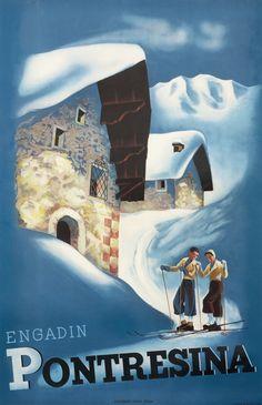 Engadin Pontresina by Artist Unknown | Shop original vintage #posters online: www.internationalposter.com