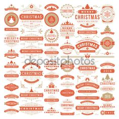 Christmas Decorations Vector Design Elements. Badges, Labels #design #xmas Download: http://depositphotos.com/88398586/stock-illustration-christmas-decorations-vector-design-elements.html?ref=5747528