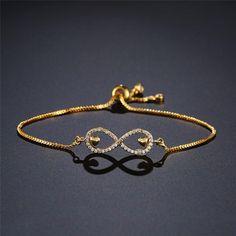 Hot Trendy Gold/Silver Color Bracelets For Women Adjustable Infinity Charm Bracelet Eternity Bracelet, Infinity Charm, Colorful Bracelets, Fashion Bracelets, Link Bracelets, Silver Color, Charmed, Chain, Type