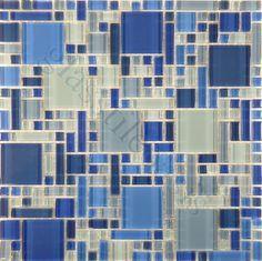 royal blue sea glass backsplash tile - Google Search
