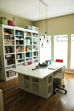 This is a homeschool room setup, but it would work well for a craft room