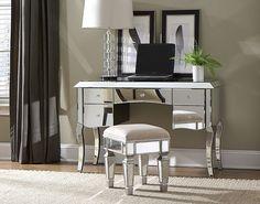 Pretty Bedroom Vanity Desk with Mirror Mirrored Vanity Desk, Mirrored Bedroom Furniture, Glass Furniture, Furniture Vanity, Bedroom Furniture Design, Vanity Set, Furniture Ideas, Vanity Lamp, Desk Ideas