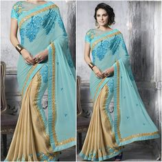 Sea Water color and cream color with Designer Saree Blouse. Product Number:NRNS-MDR8803