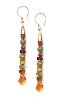 Earrings with Amber Gemstone Beads, Carnelian Gemstone Beads and Turquoise Gemstone Beads  #gemstonejewelry #dangleearrings #jewelrymaking