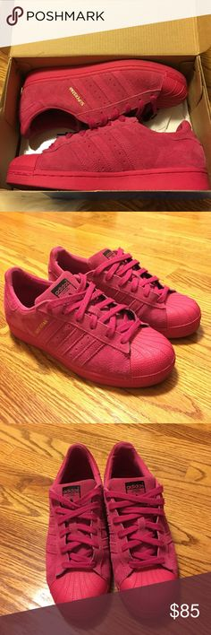 PINK ADIDAS All pink ADIDAS SUPERSTAR• Pharrell edition•box included• Adidas Shoes Sneakers