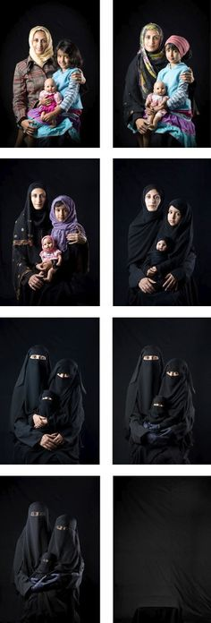 """Mother-Daughter-Doll,"" Photographer Boushra Almutawakel posed one of her daugh­ters with her doll in a sequence show­ing how women fade to black by increas­ingly dras­tic ways to cover up and ultimately vanish. Womenhood: under Sharia going .........going ..........GONE......"