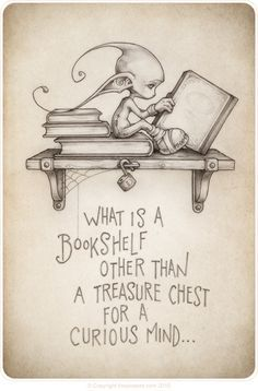 Bookshelves and their treasure. by the Picsees (www.thepicsees.com) Books cute pixies reading