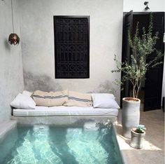 Backyard plunge pool with reading nook Riad Marrakech pool Outdoor Spaces, Outdoor Living, Outdoor Lounge, Jacuzzi Outdoor, Outdoor Retreat, Outdoor Sheds, Outdoor Pool, Mini Piscina, Terrasse Design