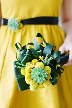 Yellow and green bouquet with succulents and craspedia  // photo by Katie Stoops, styling by www.bellwetherevents.com, dresses and accessories by Rent The Runway, floral design by Holly Chapple