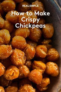 These oven-baked chickpeas are great on soups, salads, and grain bowls—or for munching on by the handful.Healthy eating is at … Gourmet Recipes, Appetizer Recipes, Vegetarian Recipes, Cooking Recipes, Healthy Recipes, Healthy Food, Appetizers, Healthy Eating, Healthy Snack Recipes For Weightloss