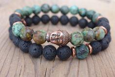 African Turquoise & Volcanic Lava Buddha Bracelet by TigerEyeStone