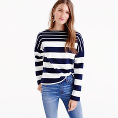 """The only thing better than stripes is...more stripes. This boatneck T-shirt features two striped fabrics that we pieced together for a playful look. It's an easy layer that pairs well with everything. <ul><li>Slightly loose fit.</li><li>Body length: 22"""".</li><li>Cotton.</li><li>Machine wash.</li><li>Import.</li></ul>"""