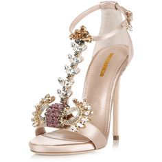 Dsquared2 11,5 Cm Satin Sandal High Heel with Jewel Applicat ($700) ❤ liked on Polyvore featuring shoes, sandals, stilettos shoes, mid-heel shoes, high heels stilettos, jewel sandals and leather sole shoes