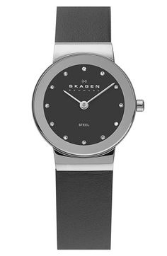 Skagen Round Leather Strap Watch available at #Nordstrom
