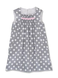 Polka dot dress with side seam pockets, gathered front and ribbon detail