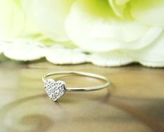 Simple heart Ring Women's crystal Ring Adjustable by authfashion, $9.00