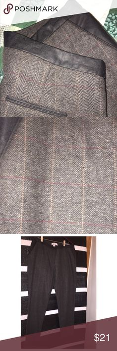 Tweed Wool Blend Trousers NWT Brand new wool trousers with vegan leather detail trim on the waist and pockets. Wool blend. Two real pockets in the front and two faux pockets in the back. Plaid wool tweed for a polished look at an affordable price. Size 10, never worn and new with tags. Great deal. ✨✨Reasonable offers accepted. ✨✨Bundle and save! Pants Trousers