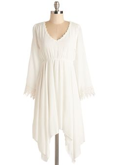 Wisp Reminds Me Dress. The moment you slip into this airy white dress, youre inspired to glide outside and turn today into an adventure. #white #modcloth