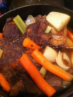 """Simple Perfect Pot Roast #recipe """"tastes exactly like Mom's recipe. She used to put it in the oven before we went to church,"""""""
