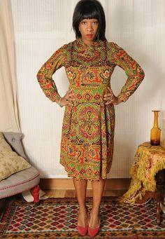 ♥ BEAUTIFUL Vintage 60's Elka Couture Batik Print Bow Neck Midi Skirt DESIGNER