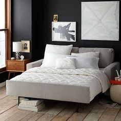 """Henry Deluxe Sleeper Sofa #westelmOne luxe sleeper. Our Henry Deluxe Sleeper takes comfort to the next level. Designed without uncomfortable bars or springs, it pulls open easily to reveal a plush-top mattress so comfortable, it feels like a real bed.   76""""w x 36""""d x 36""""h."""
