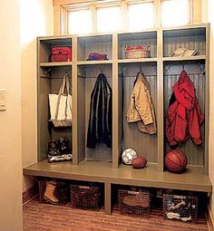 lockers in mudroom.i need a mudroom! Metal Building Homes, Building A House, Building Ideas, Metal Homes, Armoire Entree, Mudroom Laundry Room, Mudroom Cubbies, My Living Room, Home Organization