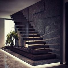 By Demirhan Gurman Via: by architecture_hunter Home Stairs Design, Interior Stairs, Dream Home Design, Modern House Design, Home Interior Design, Luxury Interior, Modern Stairs Design, Interior Office, House Staircase