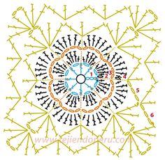 Cómo tejer un cuadrado con flor a crochet - flower granny square