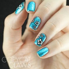 Copycat Claws: Hawaiian Flowers Over Blue Glitter