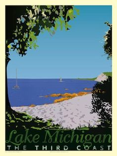 Vintage posters to decorate the basement. Lake Michigan - Print by Pete Martens