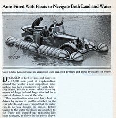 Auto Fitted With Floats to Navigate Both Land and Water | Modern Mechanix