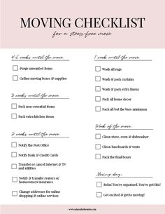 50 packing tips for movingMany packing and moving tips make moving easier, save time and moving tips Packaging ideas you have to try! Moving Out Checklist, Moving List, Moving House Tips, Moving Day, Moving Checklist Printable, Moving Stress, Cleaning Checklist, Apartment Moving Checklist, Apartment Packing List