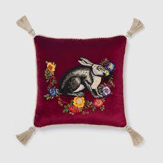 Gucci Velvet cushion with rabbit embroidery - ShopStyle Decorative Pillows Crochet Cushions, Velvet Cushions, Cushions On Sofa, Throw Pillows, Floral Cushions, Scatter Cushions, Accent Pillows, Gothic Furniture, Diy Cushion