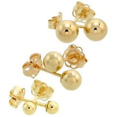 3Pair 10k Gold Ball Earrings Set  Cartilage Nose Studs 3mm 4mm 5mm -- Be sure to check out this awesome product.