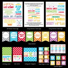 2017 Young Women Theme Printable Kit, LDS Mutual Theme, Ask in Faith, Young Women Values, Mormon, LDS Printables