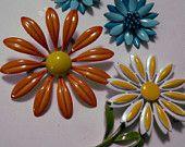 Enamel Flower Pins and Earrings-Gorgeous Shabby Chic Large Vintage Enamel Pins and Earring Set From the Seventies