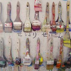 Used paint brushes Art Plastique, Paint Brushes, Mark Making, Art Studios, Artist At Work, Painting Inspiration, Drawings, Creative, Artwork