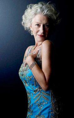 ♀ Woman portrait face of a silver hair beauty Helen Mirren
