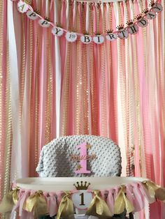 PINK and GOLD FIRST birthday, Pink and Gold High Chair Banner and happy birthday banner,high chair garland, twinkle first birthday, princess by FoxyLittleRascals on Etsy https://www.etsy.com/listing/386916346/pink-and-gold-first-birthday-pink-and