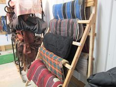 Build this saddle blanket rack with scrap lumber.