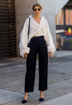 Sydney-based blogger Talisa Sutton wearing a white shirt and navy jeans | ASOS Fashion & Beauty Feed