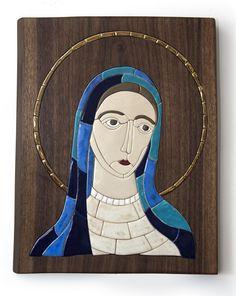 Madonna, ceramics mosaic, walnut, gold, christian art