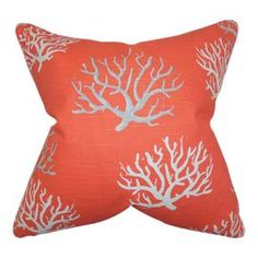 A charming addition to your home, this stunning cotton cushion features a blue background and coral motif in contrasting light tones. Team with neutral fabrics, glass topped tables and nautical accents for a beach house-inspired look.  Product: CushionConstruction Material: Cotton and downColour: Salmon and silverFeatures: Insert includedDimensions: 45.75 cm H x 45.75 cm W x 10 cm D