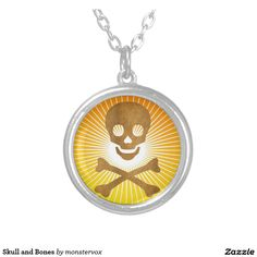 Skull and Bones Round Pendant Necklace  #Holiday #Halloween #Skull #Skeleton #Jewelry #Pendant #Necklace